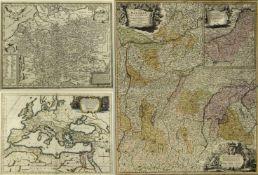 Homann u.a.Karten von Bayern u.a. 3 Bll. versch. Techn. Bis 57,5 x 49 cm.