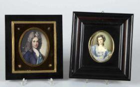 Deutsch, um 1800Brustbilder einer jungen Frau und eines jungen Mannes. 2 Miniaturmalereien. Bis 11 x