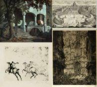 Bruycker, J. de. Meid, Hans u.a.Kerk Antwerpen. Reitendes Paar u.a. 4 Bll. versch. Techn. Bis 61 x