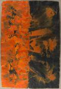 Kausel, Thomas P. 1937 Berlin584 Orange-Schwarz. Acryl/Bütten. 105 x 72 cm. Verso auf dem