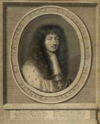 Nanteuil, Robert. 1623 - 1678Portrait Ludwig des XIV. Kupferstich. 39,5 x 32 cm.