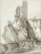 SchützDer Drachenfelsen am Rhein. Tuschzeichn. Sign., bet. und dat. 1804 oder 1894. 49,5 x 38 cm.
