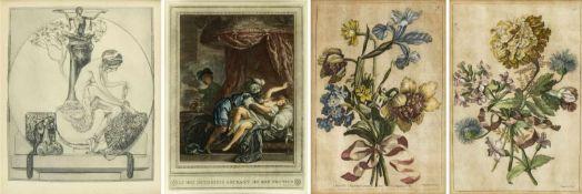 Bayros. Baptiste u.a.Weiblicher Akt mit einem Phallus. Blumenstillleben. Landschaften u.a. 7 Bll.