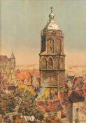 Beckert, Fritz. 1877 Leipzig - Dresden 1962Die Frauenkirche in Meißen. Chromolithographie. 74,5 x 54