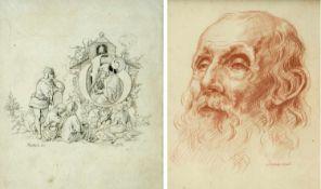 Kaulbach. Schrott-VorstMärchenerzähler. Portrait eines bärtigen Mannes. 1 Bleistiftzeichn. 1