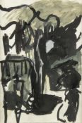 Baron PeterAbstrakte Komposition. Tusche, Acryl und Kreide. 78 x 52,5 cm.