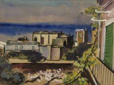 Geigenberger, Otto. 1881 Wasserburg/Inn - Ulm 1946Auf Capri. Gouache. Auf dem Passepartout sign. und