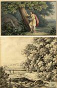 Monogrammist G.D. Schurig, Karl (zugeschrieben)Angler an einem Bach. Jüngling ritzt in einen Baum. 1