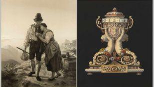 Braun, S. u.a.Junges Paar. Vase. 1 Lithographie. 1 kol. Radierung. Bis 47,5 x 41 cm.