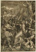 Dürer, Albrecht. 1471 - Nürnberg - 1528Die Gefangennahme Christi. Holzschnitt. 39,7 x 27,7 cm. Stark