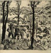 Fend, JosefJäger auf der Heimkehr. Holzschnitt. Sign. und num. Ex. 80/100. 30 x 31 cm.