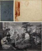 Unbekannt, 18. und 19. Jh.Kutsche. Erotische Szene. Schlägerei. 3 Bll. versch. Techn. 26 x 37,5 cm.
