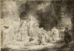 Rembrandt, Harmensz van Rijn. 1606 Leiden - Amsterdam 1669Christus heilt den Kranken. Radierung.