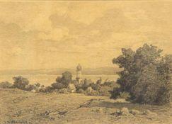 Willroider, Josef. 1838 Villach - München 1915Dorfkirche am See, mögl. Bernried. Bleistiftzeichn.