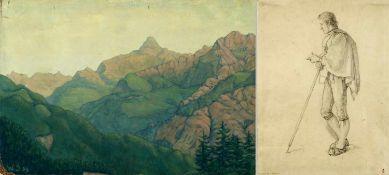 Beckmann, J.H. Philips, H. u.a.Wanderer. Brustbild einer Frau. Bergpanorama u.a. 3