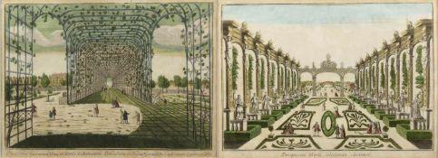 Deutsch, 18. Jh.Guckkastenblätter mit Gartendarstellungen. 2 kol. Radierungen. 30,5 x 41 cm.