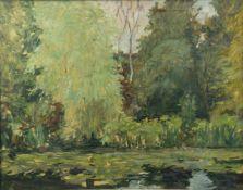 Deutsch, 20. Jh.Sommerlicher Waldteich. Öl/Papier, auf Holz aufgezogen. 49 x 63,5 cm.