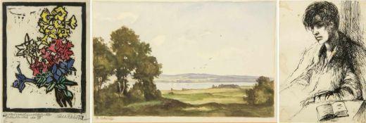 Nagel, Hanna. Geiss, G. Reiser, CarlJunger Mann mit Lektüre. Landschaft mit See. Blumenstrauß. 3