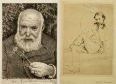 Desboutin, Marcellin. Thoma, HansPortraits Auguste Renoir und Hans Thoma. 2 Radierungen. 1 Bl. sign.