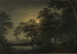 Hammer, Christian Gottlob. 1779 - Dresden - 1864Nächtliche Flusslandschaft vor Dresden. Aquarell.