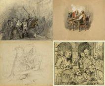 Nagel, G. Weber, P. u.a.Feiernde Personen. Landschaften. Ludwig I. als Knabe u.a. 20 Bll. versch.