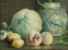 Duffield, Mary Elizabeth. 1819 Bath - ? 1914Stillleben mit Früchten und einem Ingwertopf.