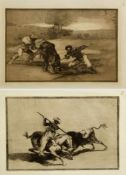 Goya, Francisco de. 1746 Fuendetodos - Bordeaux 1828Stierkampfszenen. 2 Aquatintaradierungen. 24,5 x