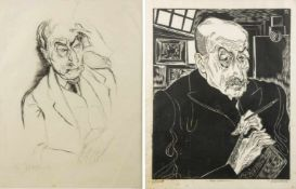 Felixmüller, Conrad. Grossmann, RudolfPortraits von Max Liebermann. 1 Holzschnitt. 1 Lithographie.