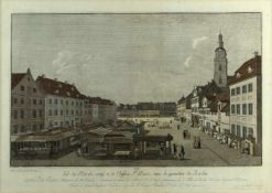 Rosenberg, Johann Georg. 1739 - Berlin - 1808Vue du Marché neuf et de l'Eglise Ste. Marie dans le