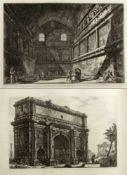 PiranesiVeduta dell'Arco die Settimio Severo. Veduta interna dell'antico Tempio di Bacco. 2