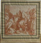 Italien, 18. Jh.Besuch eines Mönchs beim Papst. Farbige Aquatintaradierung. 37 x 35 cm. Nach einem