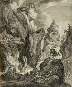 Ridinger, Johannes Elias. 1698 Ulm - Augsburg 1767Gämsen in einem Gebirge. Kupferstich. 55 x 44