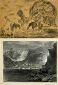 Gause, Wilhelm. Monogrammist C.P. u.a.Lomnitzer Spitze vom Steinbachsee. Zwei Pferde in einer