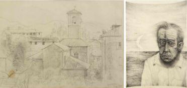 Loewig, Roger u.a.Der Verbannte. Blick auf südländische Stadt mit Kirchturm. 1 Kugelschreiberzeichn.