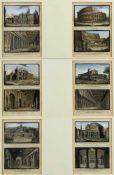 Italien, wohl 19. Jh.Ansichten von Rom. 12 kol. Stahlstiche. 7 x 11,5 cm. Es handelt sich um
