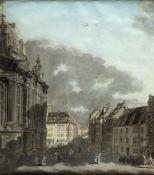 Deutsch, Anf. 19. Jh.An der Frauenkirche in Dresden. Gouache und Tuschfederzeichn. 57,5 x 52,5 cm.