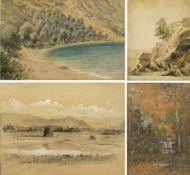 Kaufmann, Franz Xaver u.a.Rocca di Papa. Olivenhain. Teich vor Gebirgslandschaft u.a. 4 Aquarelle. 1