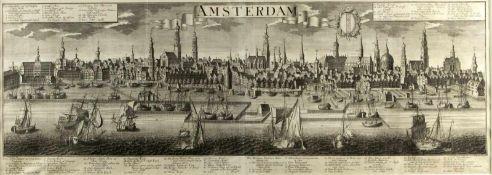 Probst, Johann Friedrich. 1721 - Augsburg - 1781Panorama von Amsterdam. Radierung. In der Platte