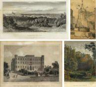 Riegel, J. Heisinger, G. Poppel, J u.a.Wittelsbacher Palast von München. Ruine von Oybin. Panorama