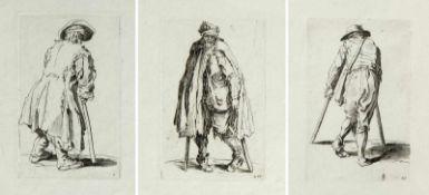 Callot, Jacques. 1592 - Nancy - 1635. Kopie nach Bettler mit Krücken. 3 Radierungen im Gegensinn.