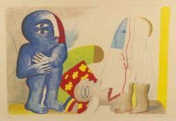 Antes, Horst. 1936 HeppenheimAbstrakte Komposition mit Figuren. Farblithographie. Sign. und num. Ex.