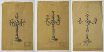 Dufour, AugusteEntwürfe für Silberleuchter. 7 Tuschfederzeichn., weiß gehöht. 3 mit