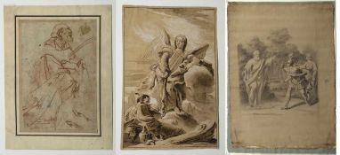 Italien, 18. und 19. Jh.Mythologische Szenen. 2 Tusch- und 1 Bleistiftzeichn. Bis 42,5 x 27,5 cm.- -