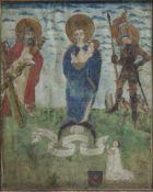 Tirol, wohl 18. Jh.Maria mit dem Kind, dem heiligen Georg und dem heiligen Andreas. Gouache. Bez. 26