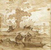 Bibiena, Fernando Galli de. 1657 - 1743. Zugeschrieben Reiter am Fluss mit einer Stadt im