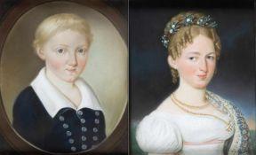Menna, Matthäus Joseph. 1767 - 1837Damen- und Herrenportrait. 2 Pastelle. 27 x 22 cm.- - -27.00 %