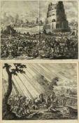 Luyken, JohannesLa Tour de Babel. La conversion de Sainte Paul. 2 Radierungen. Bis 34 x 44 cm.- - -