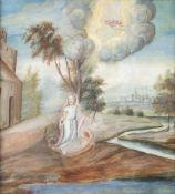 Deutsch, 18. Jh.Die heilige Martha. Gouache. 18 x 16 cm.- - -27.00 % buyer's premium on the hammer