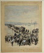 Frankreich, um 1900Le passage d'un pont de bateaux au petit jour. Gouache. Bet. 25,5 x 21,5