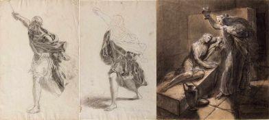 Italien, 18. und 19. Jh.Schwertkämpfer. Besuch im Kerker. 2 Bleistift- und 1 Kohlezeichn. Bis 42 x